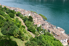 Red tiled roofs of the village Morcote on Switzerland Stock Image