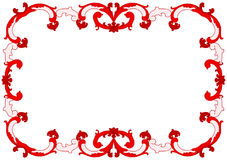 Red Tiles Baroque Frame Border. Border frame invitation card with red Portuguese and Spanish tile themes Royalty Free Stock Photo