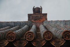 red tiles of japanese temple Stock Photos