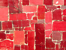 Red tiles mosaic - random pattern. Ceramic tile mosaic. Irregular shapes. Random spread Stock Image