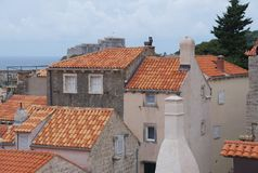Red tiles roofs in old town of Dubrovnik Royalty Free Stock Photo