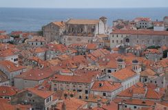 Red tiles roofs in old town of Dubrovnik Royalty Free Stock Photography