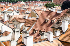 Red tiles roofs. In old town, very typical all over Europe. Old town scenary Stock Photo