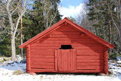 Red timber barn  Royalty Free Stock Photo