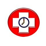 Red time. A show of time in a red cross Royalty Free Stock Photos