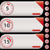 Red timer banners Stock Photography