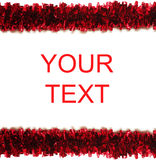 Red tinsel frame isolated on white Royalty Free Stock Photography