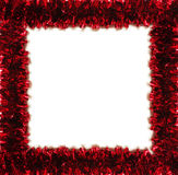 Red tinsel frame isolated on white (place for text Stock Photo
