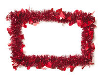 Red Tinsel with Hearts Border Frame. Shape on a White Background Ready For Your Own Message Royalty Free Stock Photos
