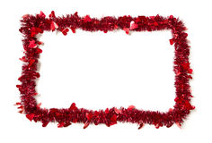 Red Tinsel with Hearts Border Frame Stock Image