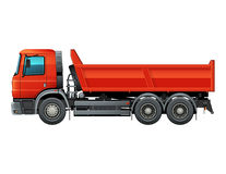 Red tipper dump truck color isolated vector. Lorry side view isolated vector color illustration. Red dumper truck. Easy to recolor cab, tire and parts Stock Images