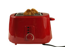 Red toaster with bread slices Royalty Free Stock Photography