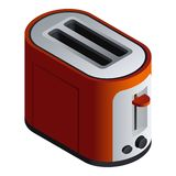 Red toaster icon, isometric style vector illustration