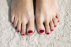 Red toenails Royalty Free Stock Image