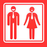 Red toilets Sign. Royalty Free Stock Photography