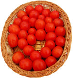 Red Tomato Background. A background of red tomatoes arranged properly in a wooden basket Stock Photography