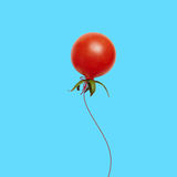 Red tomato balloon flying. A red tomato balloon flying up on blue background Royalty Free Stock Image