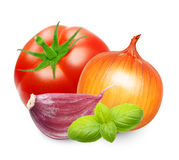 Red tomato and basil leaves spice Royalty Free Stock Image