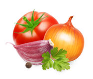 Red tomato and basil leaves spice Royalty Free Stock Images