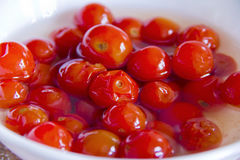 Red tomato in brine Stock Photography