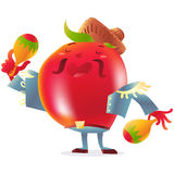 Red tomato character in torero clothes singing and playing maracas Stock Images