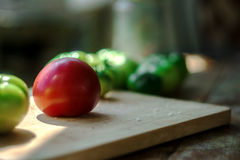 Red tomato. In the company of his green brothers royalty free stock photography