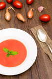 Red tomato cream soup in vertical format Stock Photography