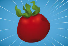 Red Tomato Crossing at Full Speed, Vector Illustration. Banner witt a red tomato crossing at full speed over a blue background with speed lines Stock Images
