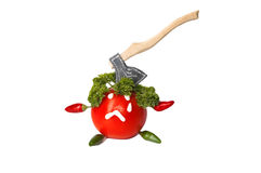 Red tomato with face and ax Royalty Free Stock Photos