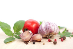 Red tomato and garlic Stock Image