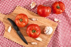 Red tomato and garlic Stock Images