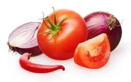 Red tomato with green leaf, unpeeled onion and chili pepper. Whole fresh red tomato with green leaf with slice, unpeeled red onion with half and hot chili pepper Stock Photos