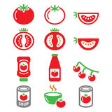 Red tomato, ketchup, tomato soup icons set Royalty Free Stock Image
