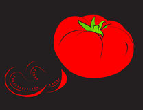 Red tomato with lobules on a black background. Stock Photography