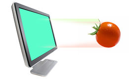 Red tomato and monitor Royalty Free Stock Image
