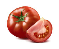 Red tomato and quarter piece isolated on white background Royalty Free Stock Photography