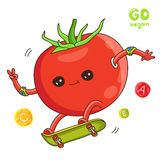 Red tomato riding on a skateboard Royalty Free Stock Photo