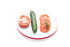 Red Tomato with Salad Cucumber Royalty Free Stock Photos