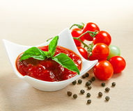 Red tomato sauce. In a pan and ingredients Royalty Free Stock Photos