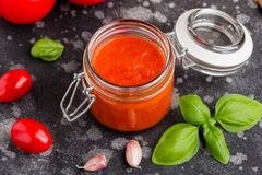 Red tomato sauce for pasta, pizza, Italian classic food. Red tomato sauce for pasta, pizza, Italian food royalty free stock photos