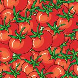 Red tomato seamless pattern on red background vector illustration
