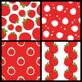 Red Tomato Seamless Patterns Set Stock Image