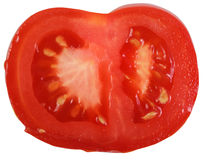 Red tomato slice . Isolated over white . Stock Images