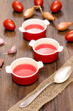 Red tomato soup in bowls Royalty Free Stock Photos