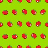 Red tomato stock  seamless pattern on green background for wallpaper, pattern, web, blog, surface, texture, graphic & print. Red tomato stock  seamless pattern Royalty Free Stock Photography