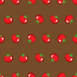 Red tomato stock  seamless pattern on brown background for wallpaper, pattern, web, blog, surface, texture, graphic & print Royalty Free Stock Photography