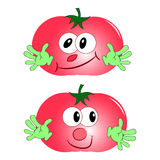 tomato cartoon character vector red. Tomato red two funny with green arms Stock Photos