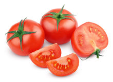 Red tomato vegetables with cut on white Stock Images