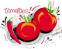 Red tomatoes. Two red tomatoes and one red pepper Royalty Free Stock Photo