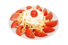 Red tomatoes from above are strewed by cheese Stock Photography